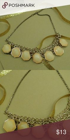 Rose Gold/Frosted Pink Necklace GUC. Adjustable length. Some tarnishing shown in picture 2. Not noticeable when wearing. Accessories