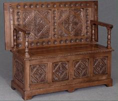 This beautiful carved solid oak monks bench would complement a wide variety of interiors, and is a useful storage item as the seat. Monks Bench, Hall Furniture, Solid Oak, Hand Carved, Table, Carving, House Design, Traditional, Antiques