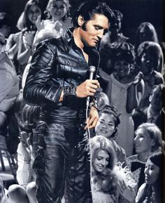 Black leather Elvis Presley in his 1968 Comeback Special. SO cool