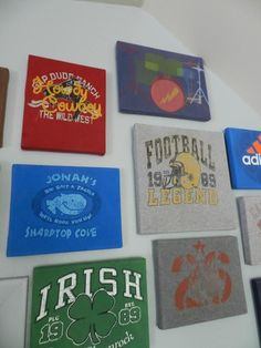 reuse and upcycle old t-shirts, no link to how they did this but looks like they have them over canvas