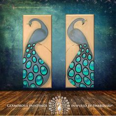 """FASCINATION peacock painting Swarovski® crystals & glitter peacock wall art 40""""x32"""" mint blue original abstract painting diptych Lydia Gee"""