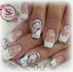 Decoraciones french Butterfly Nail Designs, Butterfly Nail Art, Nail Designs Spring, Love Nails, Pretty Nails, Fun Nails, Beautiful Nail Designs, Beautiful Nail Art, Nail Saloon