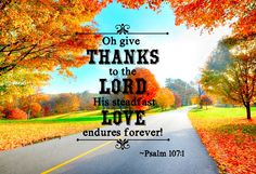 """""""Oh give thanks to the LORD, His steadfast Love endures forever."""" ~Psalm 107:1"""