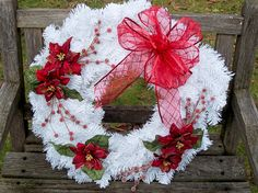 Christmas Wreath, White with Red Poinsettias.  Evergreen Wreath (artificial Pine).  Only one!  Large, 18-inch.   www.etsy.com/shop/NaturesCraftSupply