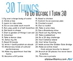 My 30 Before 30 List - One Organized Business with Alaia Williams 30 Things To Do Before 30, 30 Before 30 List, Bujo, Bucket List Life, Turning 30, This Is Your Life, Before I Die, Questions, 30th Birthday