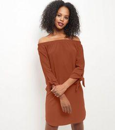 Rust Bardot Neck Tie 3/4 Sleeve Dress  | New Look