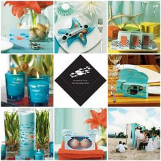 Has anyone ever seen a coral & aqua colored wedding? I'm really set on these colors but the more and more I look for things just to prepare myself I'm not finding much. Wedding Themes, Wedding Colors, Our Wedding, Dream Wedding, Wedding Ideas, Wedding Beach, Fish Wedding, Wedding Inspiration, Wedding Set