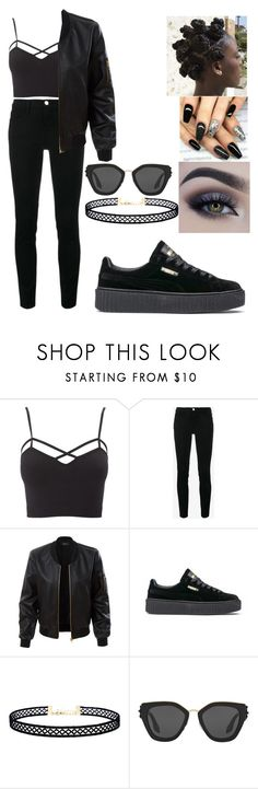 """""""I'm black and I'm proud"""" by queenamya123 ❤ liked on Polyvore featuring Charlotte Russe, Frame, LE3NO, Puma, Bantu, LULUS, Prada and plus size clothing"""