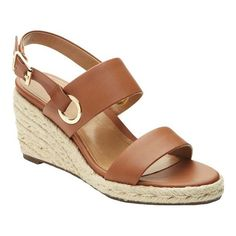 Women's Vionic with Orthaheel Technology Vero Wedge Slingback - Tan Leather Heels Brown Leather Wedges, Leather Wedge Sandals, Leather Heels, Tan Leather, Brown Wedges, Gold Sandals, Black Wedges, Gladiator Sandals, Shoes Heels Wedges