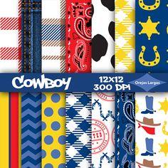 Cowboy digital paper scrapbook paper plaid denim birthday