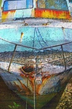 original oil painting of old boat moored at moreton bay brisbane