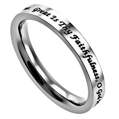 Great Is Thy Faithfulness Ring Stainless Steel Band Ring Hymn Inspired