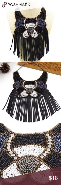 Fringe beaded bib necklace Condition: 100% Brand new and great quality Jewelry Type: Necklace Style: Collar, Color: Black Material : Resin, beads, Fabric, Aolly Weight: 80g Great for any occasion: Party, Ball, Anniversary, Date, School, Class ect! NWOT❤  BUNDLE & SAVE 15% ✨TOP RATED SELLER✨ SAME DAY OR NEXT DAY SHIPPING! ❤REASONABLE OFFERS WELCOME❤ ❌NO TRADES OR PAYPAL❌ Jewelry Necklaces