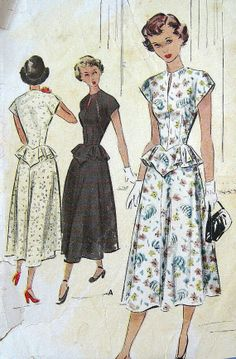 Vintage 1940s Dress Pattern Flattering V Peplum Neck Slit Sleeveless Built Up Shoulders Long Flared Skirt  McCalls 7622 Junior Miss Bust 29