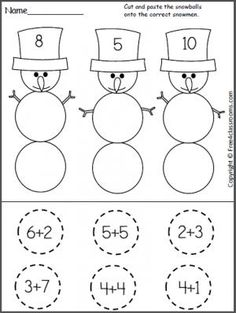 Free Cut and Paste Snowman Addition Worksheet. Students find the number partners with sums that match the snowmen hats.