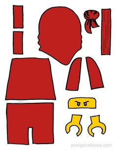 Lego Ninjago printable cutout for toddler gluestick art: The Red Ninja, Kai
