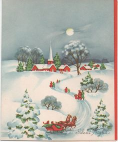 Used 1950s Christmas Card Sleighing Silent Night by VintageNEJunk