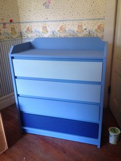 Child Craft dresser in blue ombre style using Annie Sloan Chalk Paint in Napoleonic blue (bottom drawer) mixed with Old White and English Yellow (top drawer only)  This is pre-wax and stenciling. :)