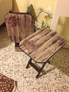 This Pin was discovered by Ann Lace Painted Furniture, Handmade Furniture, Repurposed Furniture, Wood Furniture, Pine Chairs, Corner Furniture, Interior Design Pictures, Decoupage Art, Pallet Art