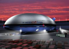 The future: An artist's impression shows how the Aeroscraft might look as it picks up cargo from a distribution centre. Finished models will carry 66 tons over a distance of 3,000 nautical miles at 120 knots.  No runway or airstrip necessary.