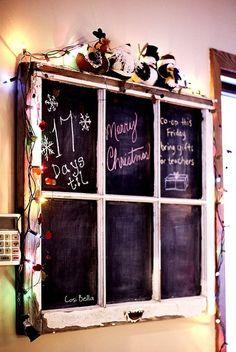 An old window frame turned chalkboard. --