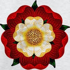 The stylized 5 petaled Tudor rose, an emblem of the Tudors. Adopted by Henry VII as he took the throne at (more or less) the end of the Wars of the Roses. Los Tudor, Tudor Era, Tudor Style, Tudor History, British History, Ancient History, British Literature, Uk History, Asian History