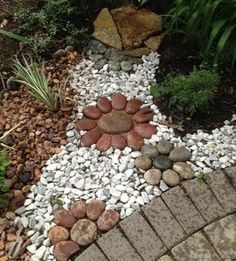 Beautiful front yard rock garden landscaping ideas DIY Garden Yard Art When growing your own la Landscaping With Rocks, Front Yard Landscaping, Landscaping Ideas, Walkway Ideas, Rock Walkway, Backyard Ideas, Rock Yard, Gardening With Rocks, Diy Garden Ideas On A Budget