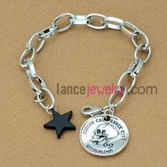 Retro alloy circular shape decoration chain link bracelet