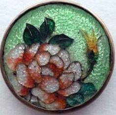 Gin Bari Enamel Rose Button