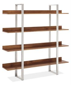 This is nice.  Not built in, but clean and modern.  Elton Bookcase - Bookcases & Shelves - Room & Board