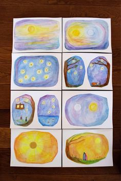 A set of 8 postcards. Designed by Hester Wakka. 1 set is including shipping. Wet On Wet Painting, Abc School, Waldorf Crafts, Chalkboard Drawings, Natural Toys, Animal Drawings, Creative Art, Watercolor Paintings, Art Projects