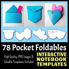 Make your interactive notebook more interesting with different pockets. These templates are for both Personal and Commercial use. This Pack contains 78 Blank Pocket Templates (with transparent backgrounds) for Interactive Notebooks or Lapbooks. They contain a variety of interesting pockets without too many complicated corners to cut.