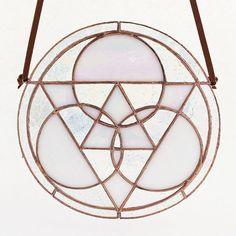 Iridescent White Stained Glass Triangle Mandala