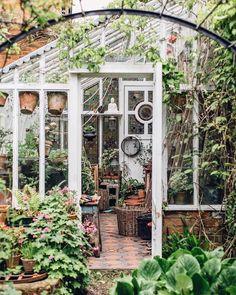 sfgirlbybay / bohemian modern style from a san francisco girl Window Greenhouse, Greenhouse Plants, Outdoor Plants, Outdoor Gardens, Victorian Conservatory, Garden Power Tools, Love Garden, Garden Gates, Garden Sheds