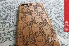 Wood iPhone 5c Case - Octopus Party, Real Wood Engraving, Marine Life, Eco Friendly, Sea Animals, Ocean, Cute iPhone Case, iPhone 5c Case on Etsy, $22.95
