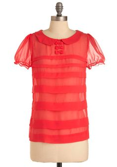 Sheer top with bow detail. Would be super cute tucked into a high waisted skirt or shorts.