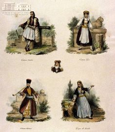 www.villsethnoatlas.wordpress.com (Grecy, Greeks) LASSALE (painter) & CHAILLOU (engraver) Greek attires coloured lithography, 24 x 18 cm Folk Costume, Costumes, Greek Traditional Dress, Greeks, Illustrator, Wordpress, Paintings, Culture, Clothing