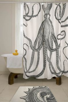 Very cool shower curtain... looks like a gown... Thomaspaul Octopus shower curtain.
