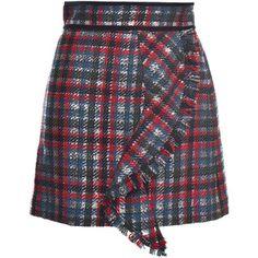 MSGM Metallic Check Ruffle Mini Skirt