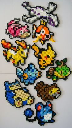Name any Pokemon and well custom make one just for you! Choose from any of the 649 current Pokemon. Pyssla Pokemon, Hama Beads Pokemon, Pokemon Craft, Perler Bead Designs, Perler Bead Art, Pearler Bead Patterns, Perler Patterns, Art Perle, Motifs Perler
