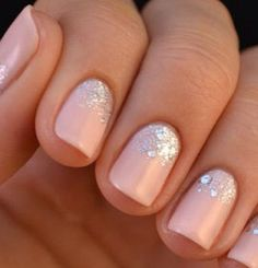Pink matte nails with glitter base