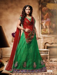 Deep green with simple embroidery work #designer #lehengacholi comes with red net dupatta.