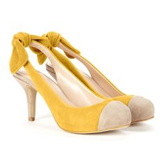 Bow Slingback Pumps in Yellow Suede! Love