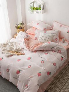 Strawberry Print Sheet Set SheIn(Sheinside) kidsbedroomsets is part of Bedroom sets - Cute Bedroom Decor, Room Design Bedroom, Girl Bedroom Designs, Room Ideas Bedroom, Bedroom Sets, Bedding Sets, Bedroom Seating, Pink Bedding, Bed Room