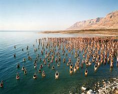 Spencer Tunick - The dead sea Spencer Tunick Photos, Inspirational Posters, New Shape, Dead Sea, Birds In Flight, Art World, Day Trips, New Art, Photo Art