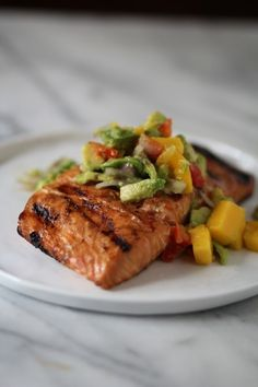 Grilled Salmon with Mango & Avocado Salsa
