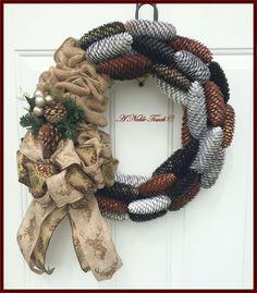 Pine Cone Burlap Wreath by A Noble Touch by ANobleTouch on Etsy