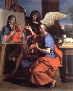 St Luke Displaying a Painting of the Virgin by GUERCINO #art
