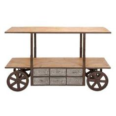 """Adjustable-height media stand with two wood shelves, six drawers, and trolley-style wheels.    Product: ConsoleConstruction Material: Solid wood and iron alloyColor: NaturalFeatures:  Six pull-out drawersTwo shelves Dimensions: 38"""" H x 63"""" W x 22"""" D"""