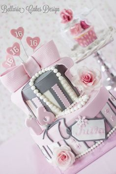 Pink Sweet Sixteen birthday cake